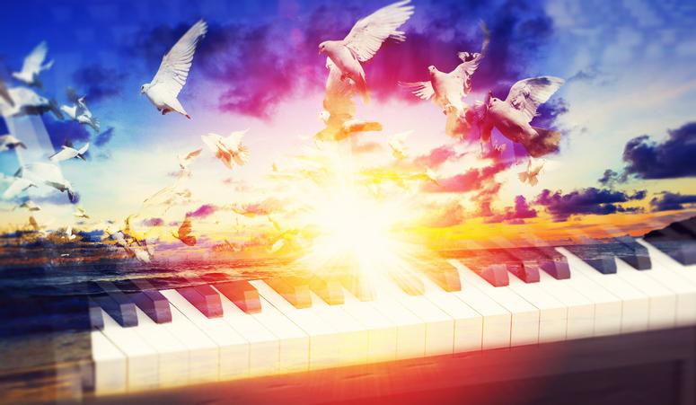 3d illustration of black grand piano keys.