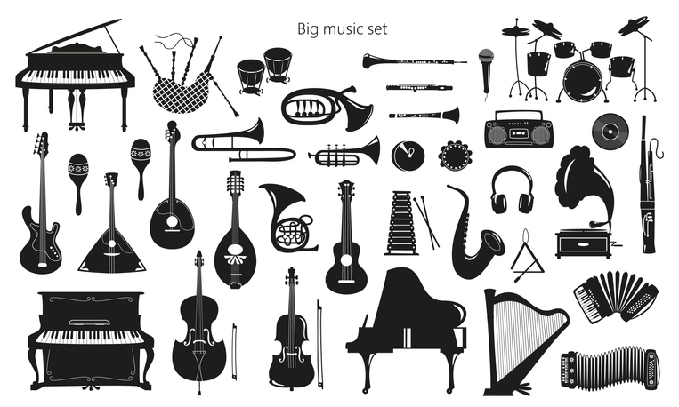 Set of musical instruments on the white background.