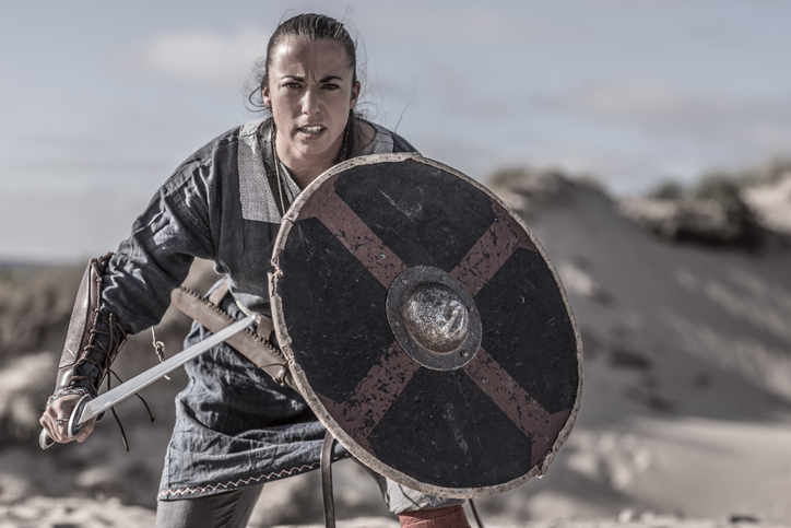 Viking woman in the sand